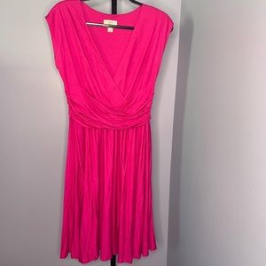 Loft pink crossover ruched dress